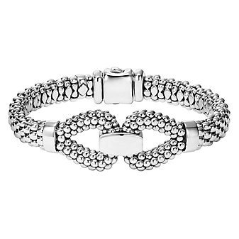 lagos sterling silver derby buckle caviar bracelet with box clasp