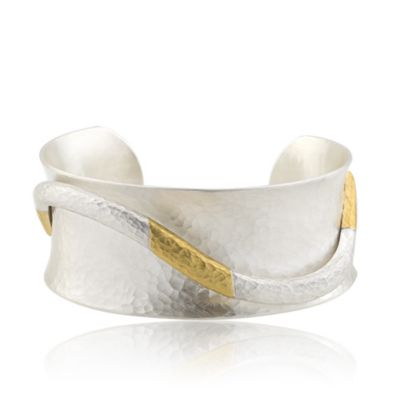 lika bahar balanchine open cuff hammered sterling sillver & yellow gold bracelet