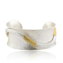 lika_bahar_balanchine_open_cuff_hammered_sterling_sillver_&_yellow_gold_bracelet