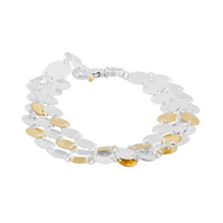 """gurhan_yellow_tone_sterling_silver_layered_triple_strand_hammered_disc_bracelet,_7.5"""""""