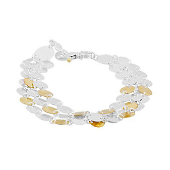 gurhan yellow tone sterling silver layered triple strand hammered disc bracelet, 7.5""