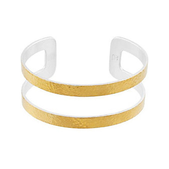 gurhan yellow tone sterling silver layered double split row hammered cuff bracelet
