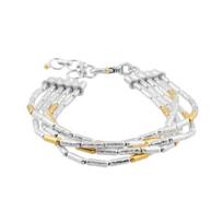 "gurhan_yellow_tone_sterling_silver_layered_multi_strand_tube_bead_bracelet,_7.5"""