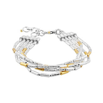 gurhan yellow tone sterling silver layered multi strand tube bead bracelet, 7.5""