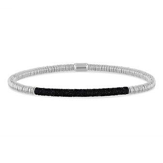 pesavento polvere di sogni silver twirl bracelet with black dust accent bar