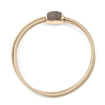 pesavento rose tone sterling silver light brown dust leather 3 strand bracelet