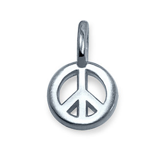 Alex Woo Sterling Silver Mini Addition Peace Sign Charm