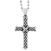 """Lagos_Sterling_Silver_Signature_Gifts_Cross_Pendant_with_34""""_Bead_Chain"""