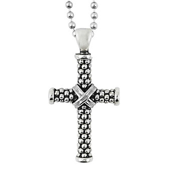 "Lagos Sterling Silver Signature Gifts Cross Pendant with 34"" Bead Chain"