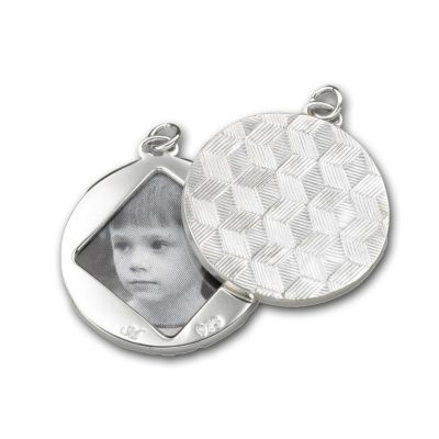 Monica Rich Kosann Sterling Silver Round Image Case Pendant With Honeycomb Pattern