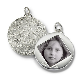 Monica Rich Kosann Sterling Silver Round Image Case With Floral Motif