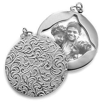 Monica Rich Kosann Sterling Silver Round Image Case With Vine Motif