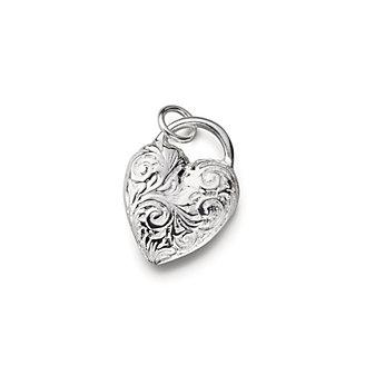 Monica Rich Kosann Sterling Silver Engraved Heart Pendant