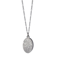Monica_Rich_Kosann_Sterling_Silver_Oval_Locket_and_Chain_with_Floral_Design,_18""