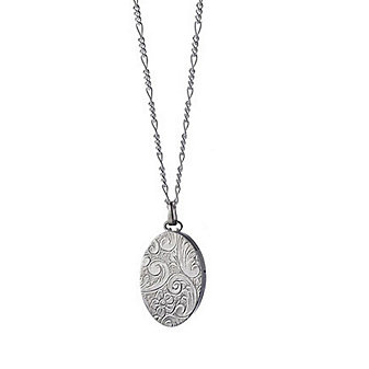 Monica Rich Kosann Sterling Silver Oval Locket and Chain with Floral Design, 18""