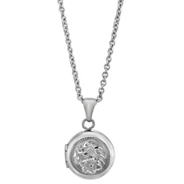 Sterling_Silver_Child's_Round_Locket_With_Flowers,_15.5""