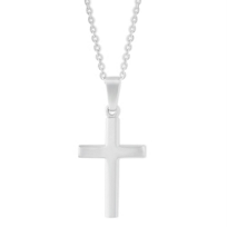 Sterling_Silver_Contured_Cross_Pendant,_18""