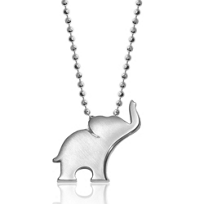 Alex_Woo_Sterling_Silver_Little_Luck_Elephant_Pendant,_16""