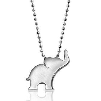 "Alex Woo Sterling Silver Little Luck Elephant Pendant, 16"""