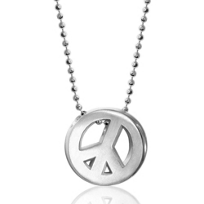 Alex_Woo_Sterling_Silver_Little_Faith_Peace_Sign_Pendant,_16""