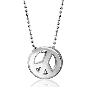 Alex Woo Sterling Silver Little Faith Peace Sign Pendant, 16""