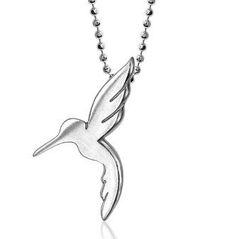 "Alex Woo Sterling Silver Little Animals Hummingbird Pendant, 16"""