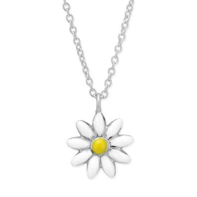 "Sterling Silver Children's White & Yellow Eamel Daisy Pendant, 15"""