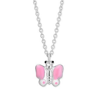 Sterling Silver Pink & White Enamel Butterfly Pendant