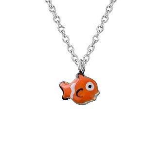 Sterling Silver Orange & White Enamel Clownfish Pendant