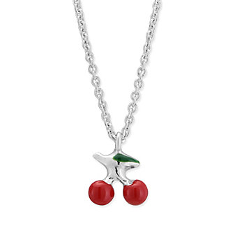 Sterling Silver Red & Green Enamel Cherry Pendant