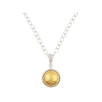 Gurhan Sterling Silver and 24K Yellow Gold Medium Amulet Dome Necklace