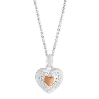 """Sterling Silver & Rose Tone Heart Pendant With Engraved Flowers, 16"""""""