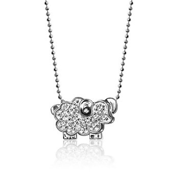 Alex Woo 14K White Gold Little Signs Sheep Pendant