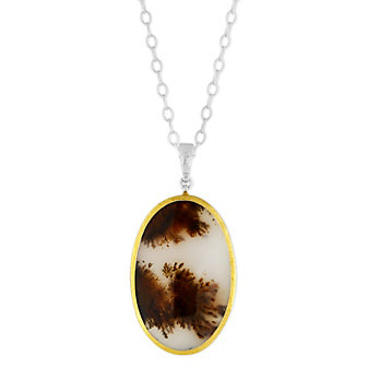 Gurhan Sterling Silver & 24K Overlay Dendritic Agate Layered Cabochon Pendant