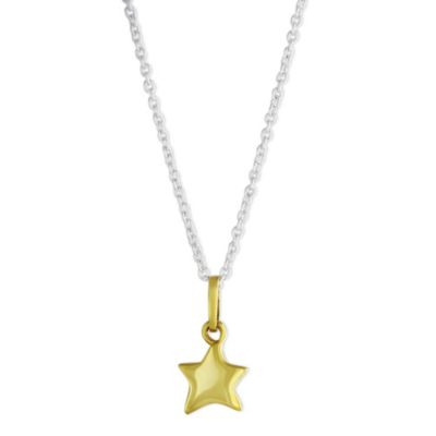 Sterling Silver & Yellow Tone Children's Star Pendant