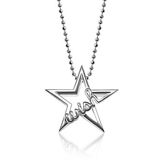 Alex Woo Sterling Silver Little Words Wish Star Pendant