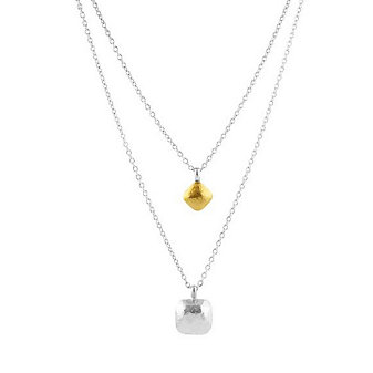 """Gurhan Sterling Silver Double Strand Hammered Square Pendant, 16"""""""