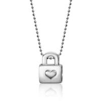 "alex_woo_sterling_silver_little_princess_heart_lock_pendant,_16"""