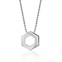 "alex_woo_sterling_silver_element_hexagon_pendant,_16"""