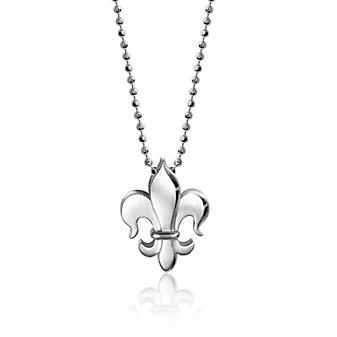 """alex woo sterling silver little faith fleur de lis pendant, 16"""""""