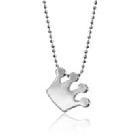 "alex_woo_sterling_silver_little_princess_crown_pendant,_16"""