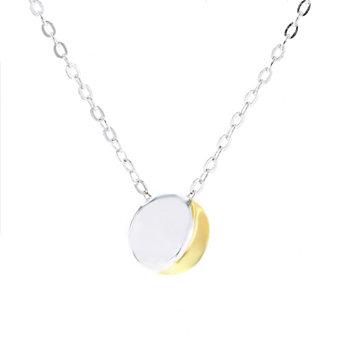 "sterling silver & yellow tone round mini lunar pendant, 14-16"""
