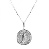 "robin_haley_sterling_silver_round_carved_eagle_spirit_pendant,_18"""