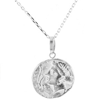 """robin_haley_sterling_silver_round_carved_goddess_honor_pendant,_18"""""""