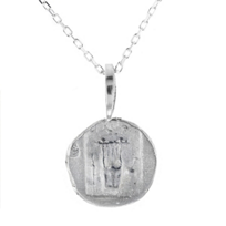 """robin_haley_sterling_silver_round_carved_harp_independence_pendant,_18"""""""