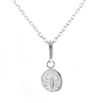 """robin_haley_sterling_silver_round_scorpio_resilience_pendant,_18"""""""