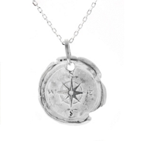 """robin_haley_sterling_silver_carved_disc_compass_pendant,_18"""""""