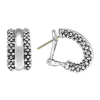 Lagos Sterling Silver Signature Caviar Hoop Earrings