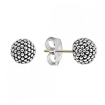 Lagos Sterling Silver 10mm Caviar Bead Earrings with 14K Yellow Gold Posts