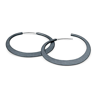 Toby Pomeroy Ecosilver Blacked Eclipse Hoop Earrings, 32mm